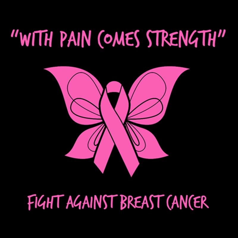 With A Pain Comes Strength Fight Against Breast Cancer Pink Butterfly  T-shirt Black B5