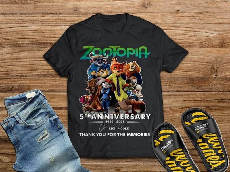 Zootopia Movie Tee 5th Anniversary 2016 2021 Rich More Thank You For The Memories Black T Shirt Men And Women S-6XL Cotton
